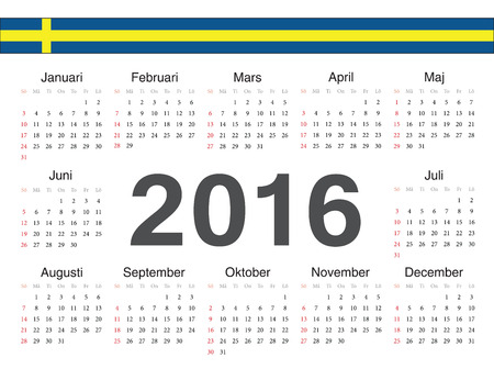 swedish: Vector Swedish circle calendar 2016. Week starts from Sunday.