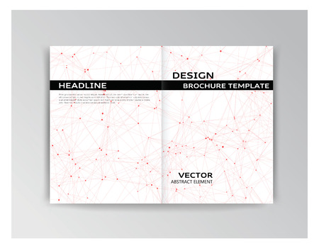 Vector horizontal white and black template of brochure with red particles