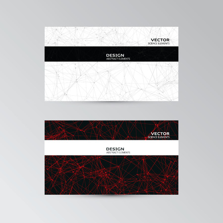 Vector template of business cards with abstract black and red elements