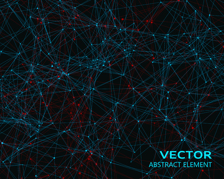 Vector digital background with blue and red geometric particles
