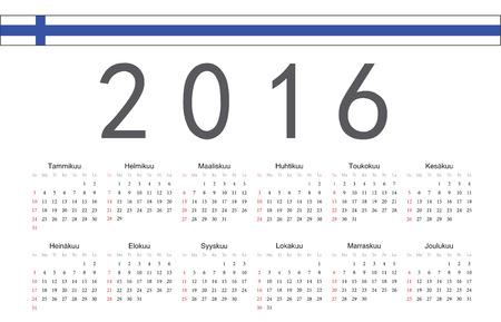 finnish: Simple Finnish 2016 year vector calendar. Week starts from Sunday. Illustration