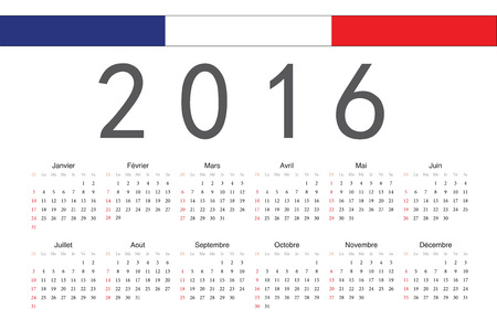 calendrier: Simple French 2016 year vector calendar. Week starts from Sunday. Illustration