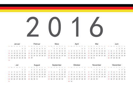 Simple German 2016 year vector calendar. Week starts from Sunday. Illustration