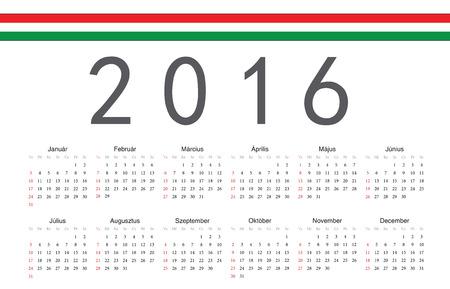 hungarian: Simple Hungarian 2016 year vector calendar. Week starts from Sunday. Illustration