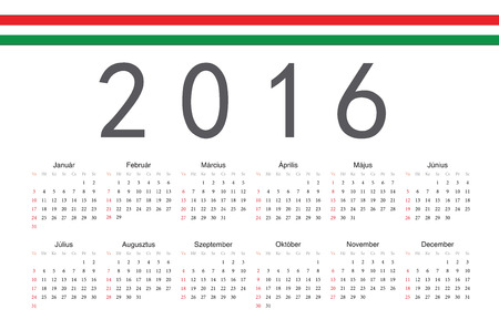 Simple Hungarian 2016 year vector calendar. Week starts from Sunday. Illustration