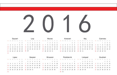 calendrier: Simple Polish 2016 year vector calendar. Week starts from Sunday.