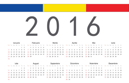 romanian: Simple Romanian 2016 year vector calendar. Week starts from Sunday.