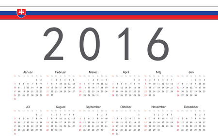 slovak: Simple Slovak 2016 year vector calendar. Week starts from Sunday. Illustration