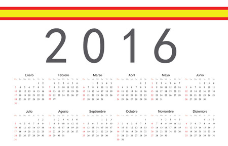 Simple Spanish 2016 year vector calendar. Week starts from Sunday.