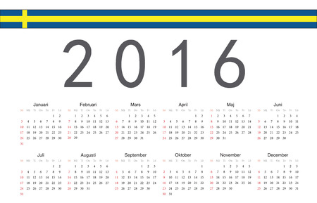 簡単なスウェーデン語 2016 年ベクトルカレンダー。1 週間は日曜日から始まります。