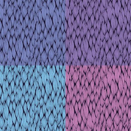 曲線要素を持つベクターのシームレス パターンのコレクション