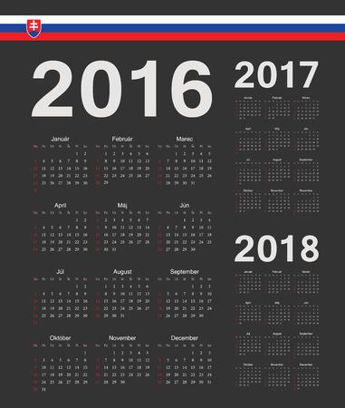 slovak: Set of black Slovak 2016, 2017, 2018 year vector calendars. Week starts from Sunday. Illustration