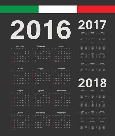 months of the year: Set of black Italian 2016, 2017, 2018 year vector calendars. Week starts from Sunday.