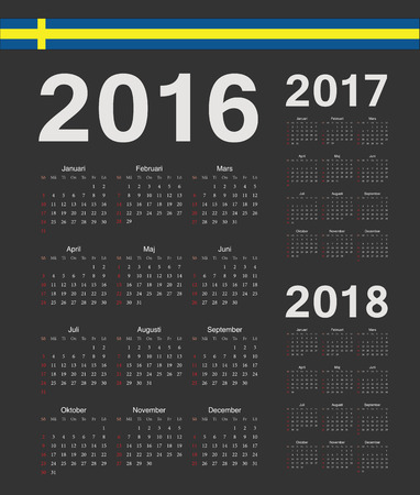 swedish: Set of black Swedish 2016, 2017, 2018 year vector calendars. Week starts from Sunday.