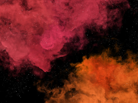 toxic cloud: Illustration of pink and orange nebulas and stars in cosmos