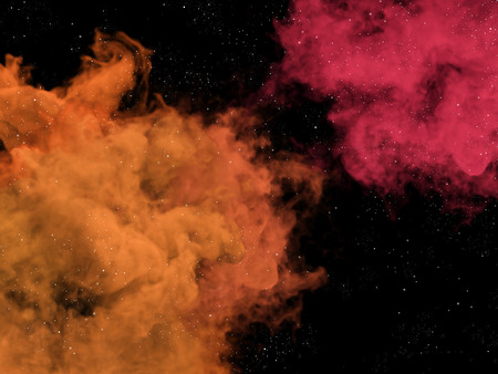 nebulosity: Illustration of pink and orange nebulas and stars in space Stock Photo