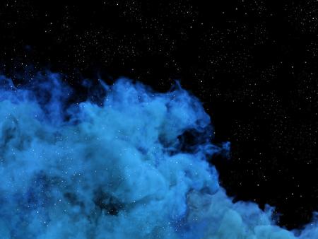 nebulosity: Illustration of blue nebula and stars in cosmos