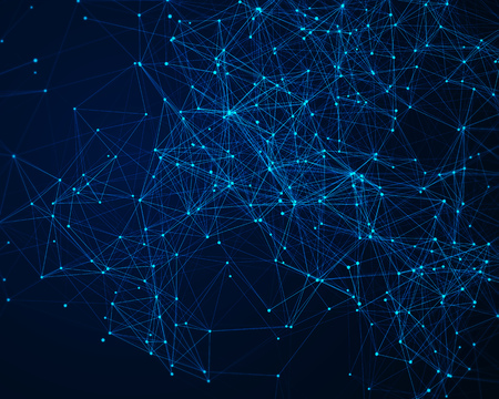 cybernetic: Abstract digital background with blue cybernetic particles Stock Photo