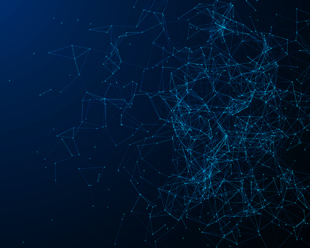 particles: Abstract digital background with blue cybernetic particles Stock Photo
