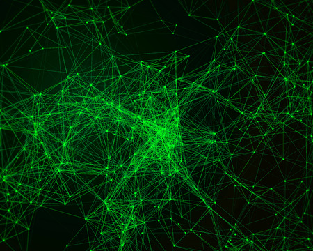 cybernetic: Abstract digital background with green cybernetic particles Stock Photo