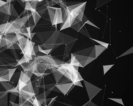 plexus: Abstract digital background with white geometric particles