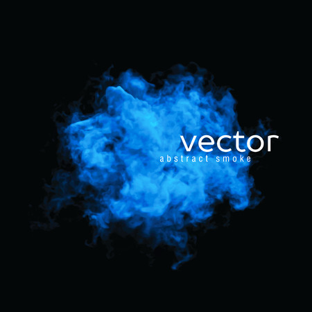 humo: Ilustración vectorial de humo azul en negro. Utilizarlo como un elemento de fondo en su diseño.
