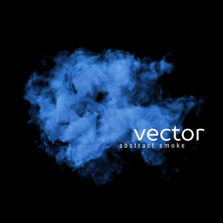 humo: Ilustraci�n vectorial de humo azul en negro. Utilizarlo como un elemento de fondo en su dise�o.
