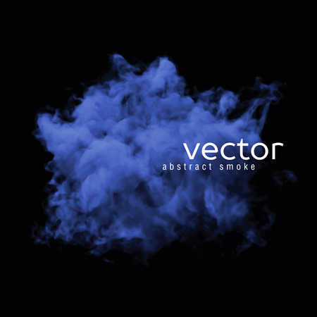 Vector illustration of blue smoke on black. Use it as an element of background in your design.