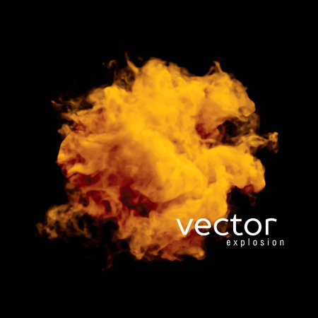 nebulosity: Vector illustration of fire explosion on black. Use it as an element of background in your design.