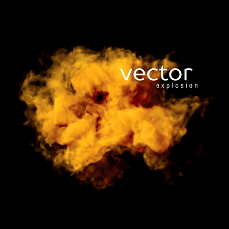 gauze: Vector illustration of fire explosion on black. Use it as an element of background in your design.