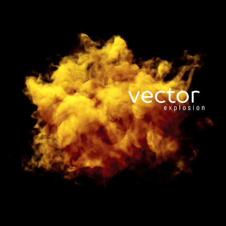 smokes: Vector illustration of fire explosion on black. Use it as an element of background in your design.