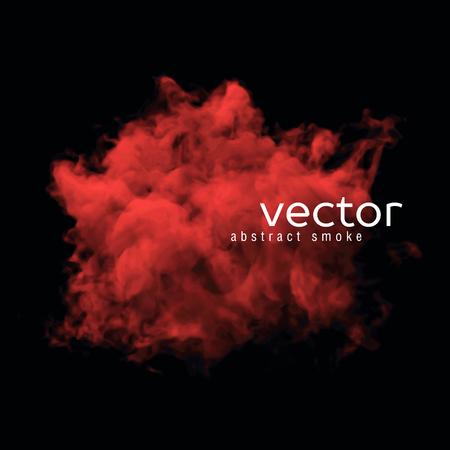 Vector illustration de la fumée rouge sur fond noir. Utilisez-le comme un élément de fond dans votre conception.