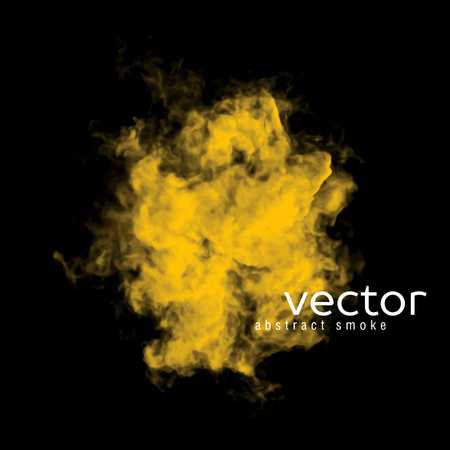nebulosity: Vector illustration of yellow smoke on black. Use it as an element of background in your design. Illustration