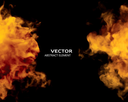 vapour: Vector illustration of fire elements on black. Use it as a background in your design projects.
