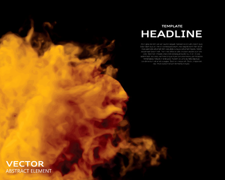 Vector illustration of fire elements on black. Use it as a background in your design projects.