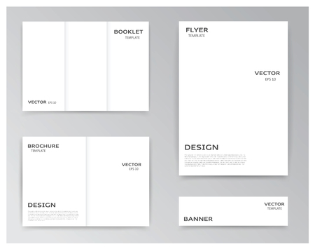 helps: Vector collection of templates on white background: booklet, brochure, flyer and banner. You can use it for your layouts and prepare your work for polygraphy. Eps file has layers with clipping mask, that helps you easily add your own background.