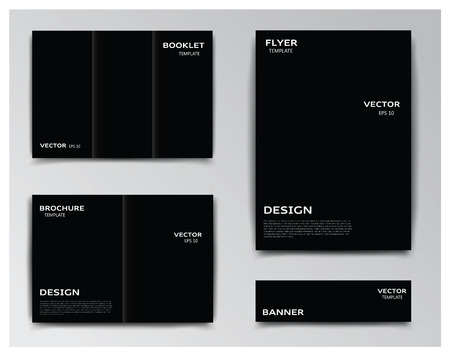 polygraphy: Vector collection of templates on black background: booklet, brochure, flyer and banner. You can use it for your layouts and prepare your work for polygraphy. Eps file has layers with clipping mask, that helps you easily add your own background.