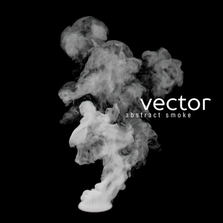 Vector illustration of grey smoke on black. Use it as an element of background in your design. Vectores