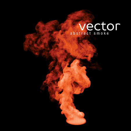 fume: Vector illustration of orange smoke on black. Use it as an element of background in your design.