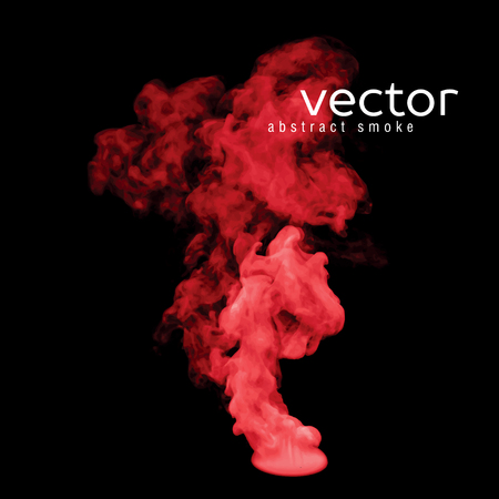 vapour: Vector illustration of red smoke on black. Use it as an element of background in your design.