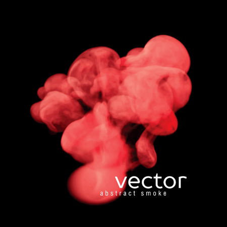 fume: Vector illustration of red smoke on black. Use it as an element of background in your design.