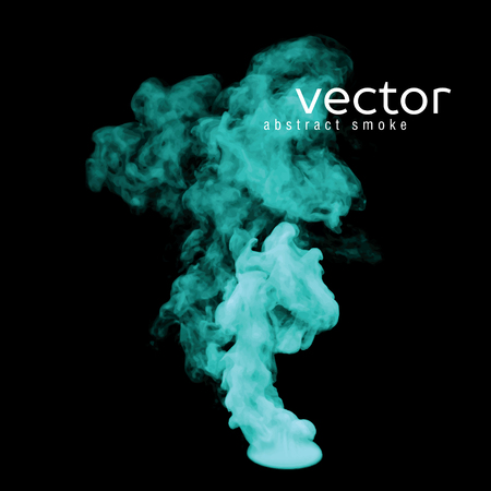 fume: Vector illustration of green smoke on black. Use it as an element of background in your design.
