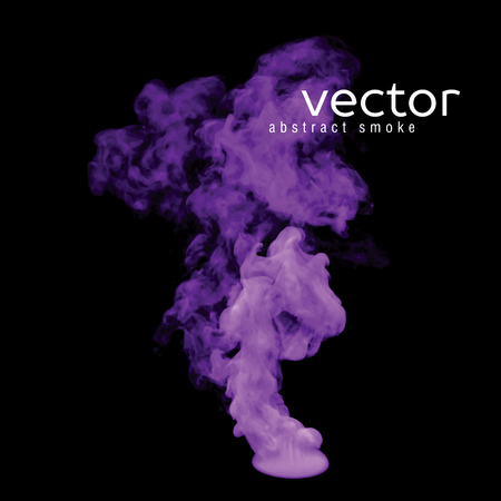 gauze: Vector illustration of violet smoke on black. Use it as an element of background in your design.
