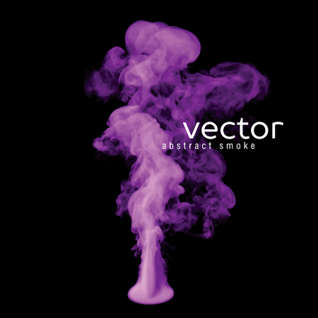 Vector illustration of violet smoke on black. Use it as an element of background in your design.