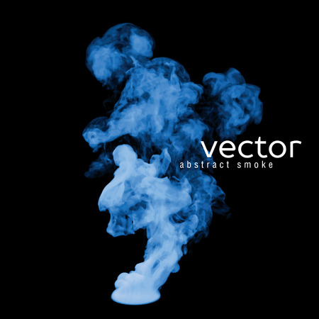 fumes: Vector illustration of blue smoke on black. Use it as an element of background in your design.