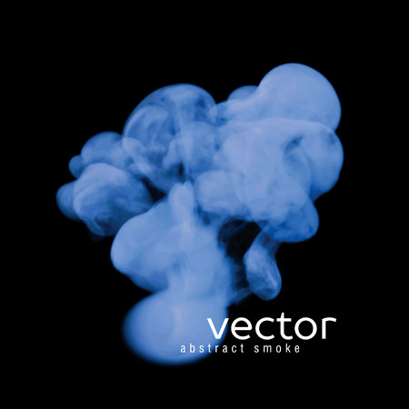 toxic cloud: Vector illustration of blue smoke on black. Use it as an element of background in your design.