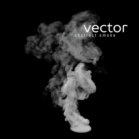 Vector illustration of grey smoke on black. Use it as an element of background in your design. Ilustração