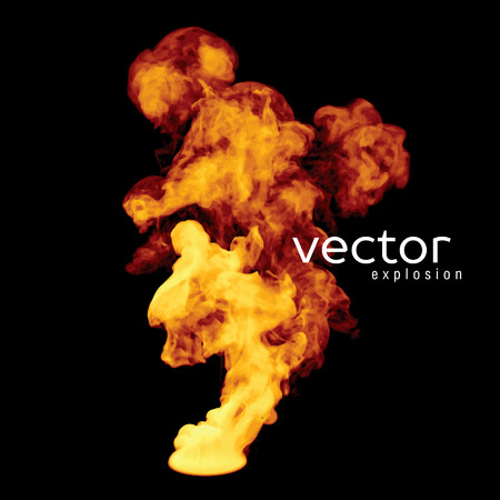 vapour: Vector illustration of fire explosion on black. Use it as an element of background in your design.
