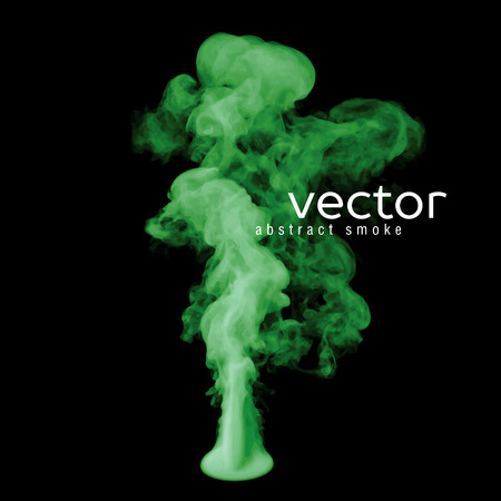 vapour: Vector illustration of green smoke on black. Use it as an element of background in your design.