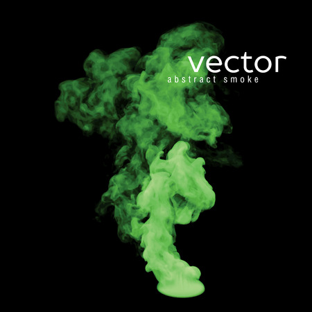 hazy: Vector illustration of green smoke on black. Use it as an element of background in your design.